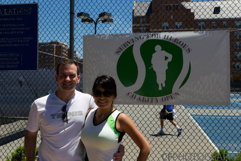 Wilson with his wife, Rosa, at the inaugural Serving For Heroes tournament in 2013.