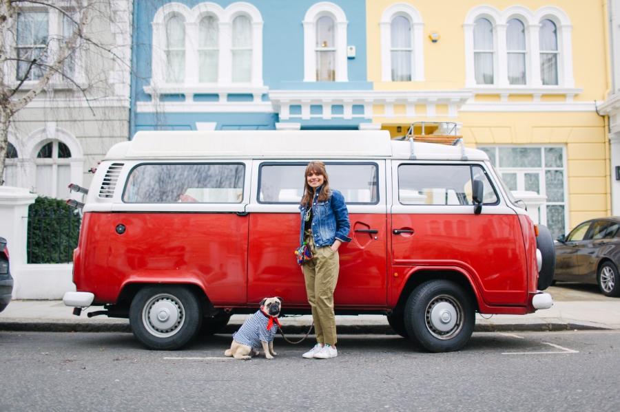 honeyidressedthepug-nottinghill-london-vintagecars-pug-puglife-pugswag-pugfashion-dog-petfashion-bandana-stripes-fawn-streetstyle-londonstreetstyle-cars-pippolli-red-volkswagen-redvolkswagen