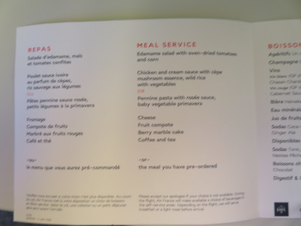 Air France economy dinner menu (My apologies for the quality)