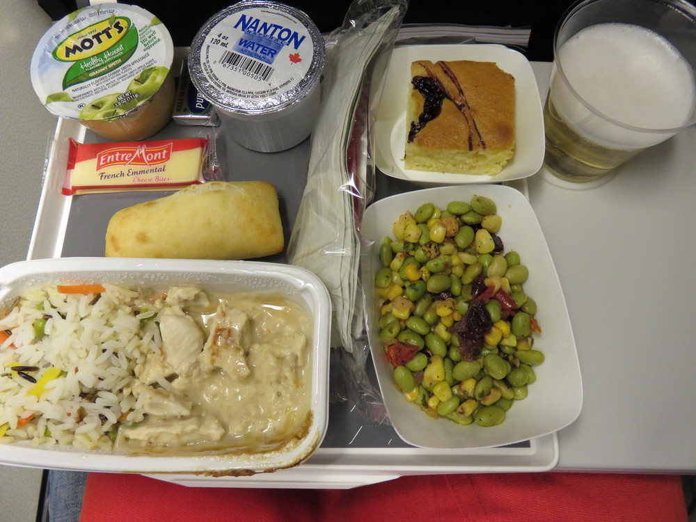 Air France's chicken with cream sauce and wild rice