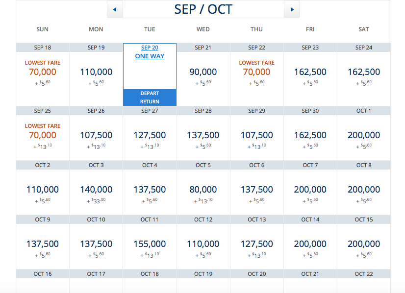 Delta's award chart for the SEA - PEK route we planned on flying