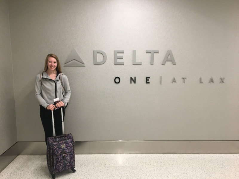 Elizabeth is excited for her first Delta One flight!