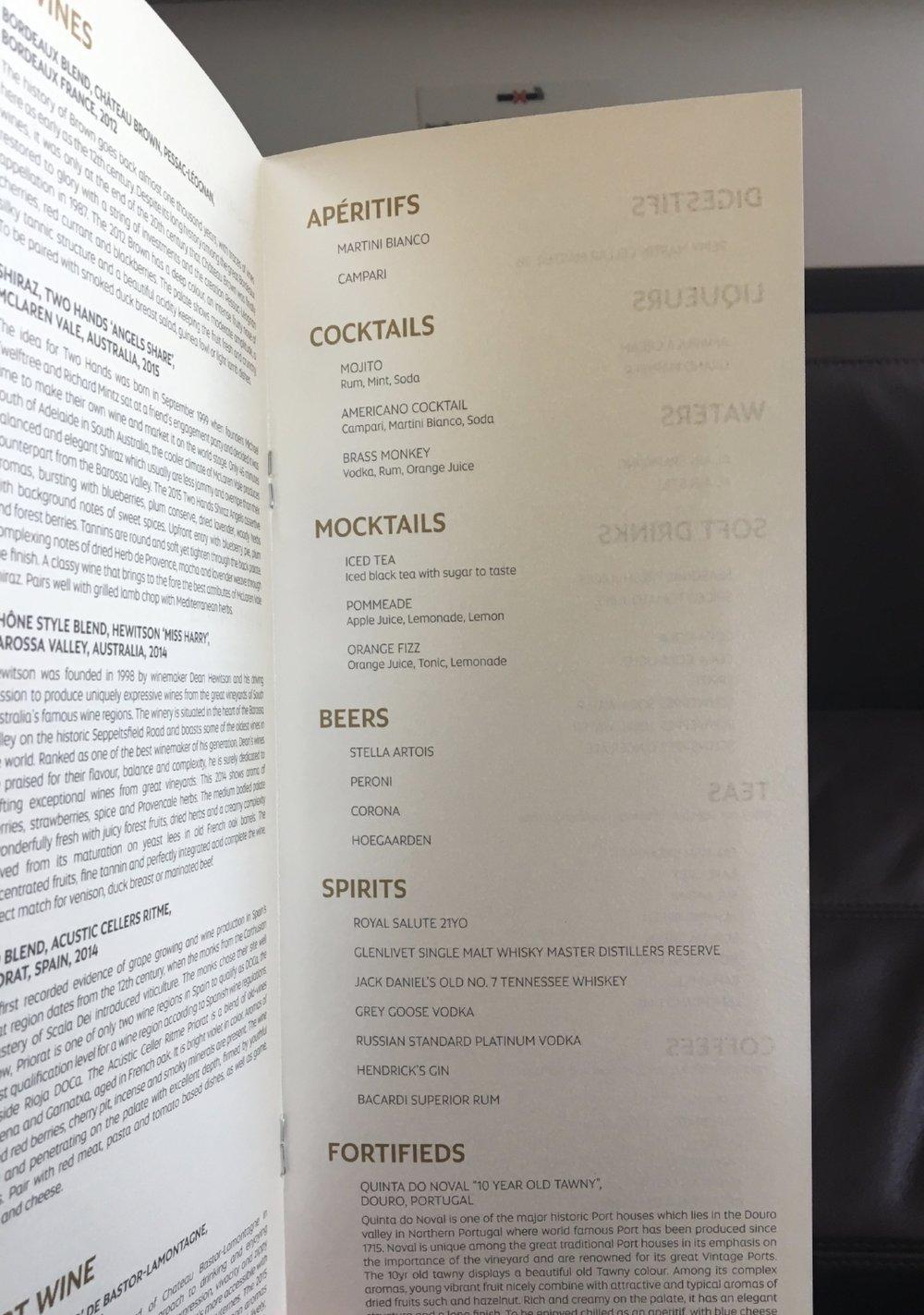 ETIHAD A380 FIRST CLASS MENU