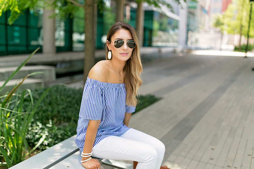 PHOTO CREDIT: Angie Garcia   Shirt: Banana Republic Sunglasses: Ray Ban Pants: Gap Bag: Madewell Watch: Michael Kors Bracelets: Lily and Laura Earrings: Kendra Scott Ring: Kendra Scott Shoes: Steve Madden