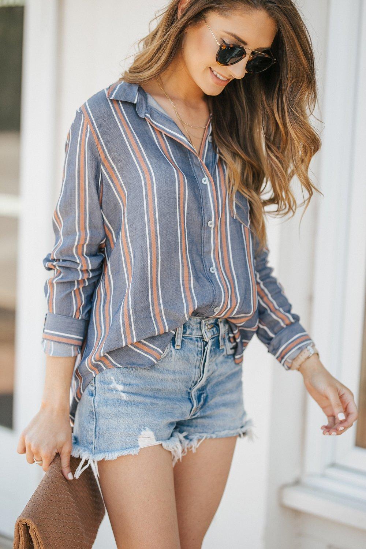 Button Down + The Best Denim Shorts