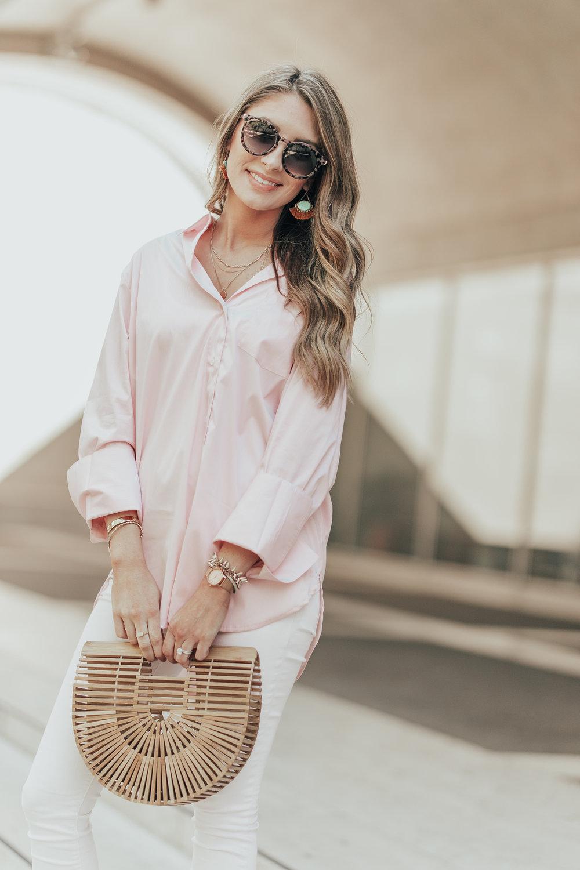 Pink Button Down + White Denim