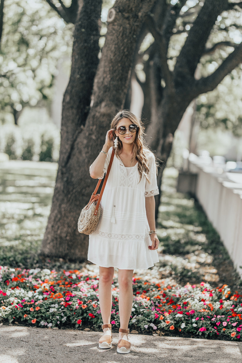 White Dress + Round Straw Bag