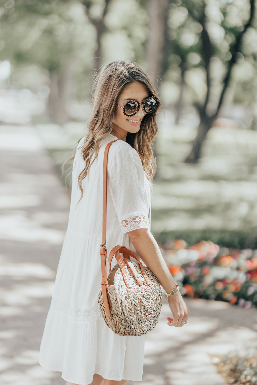 White Dress + Straw Bag