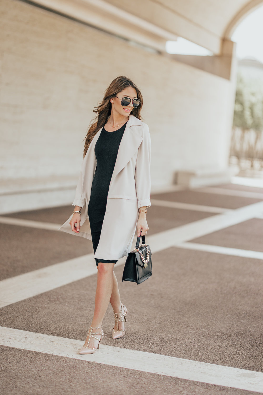 Black Maternity Dress + Trench Coat