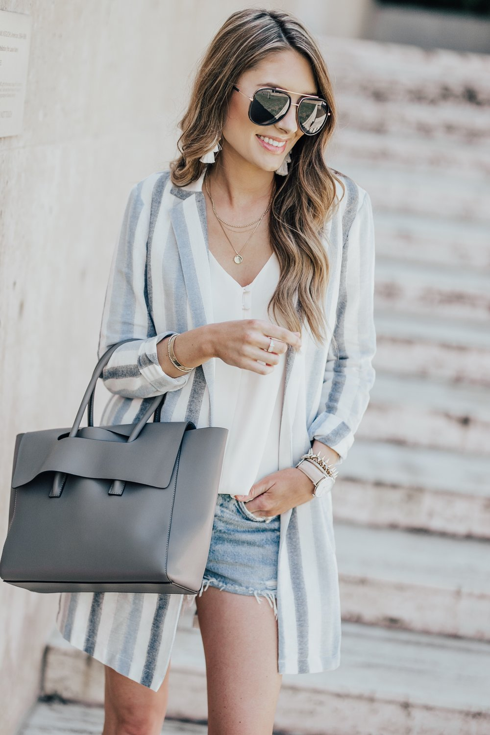 Striped Blazer + Cutoffs