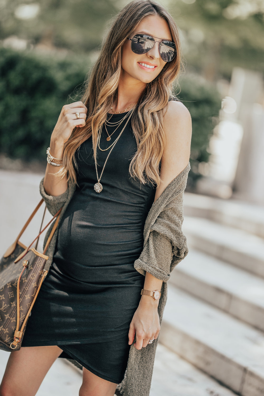 Black Dress + Cardigan