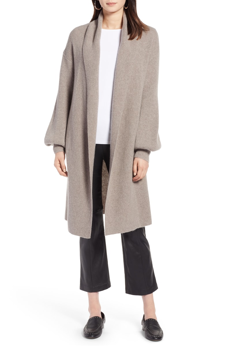 Halogen® Blouson Sleeve Long Cashmere Cardigan - SALE: $199.90 (after sale $299)