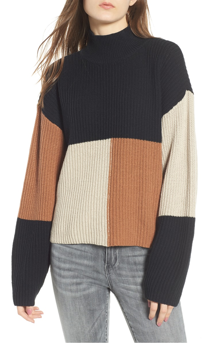BP. Mock Neck Colorblock Sweater - SALE: $31.90 (after sale: $49)
