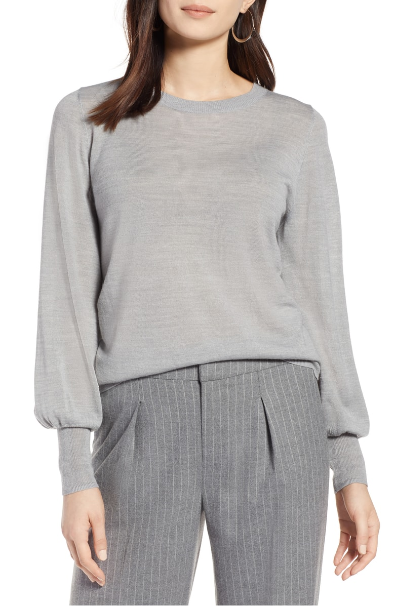 Halogen® Puff Sleeve Merino Wool Blend Sweater - SALE: $45.90 (after sale: $69)