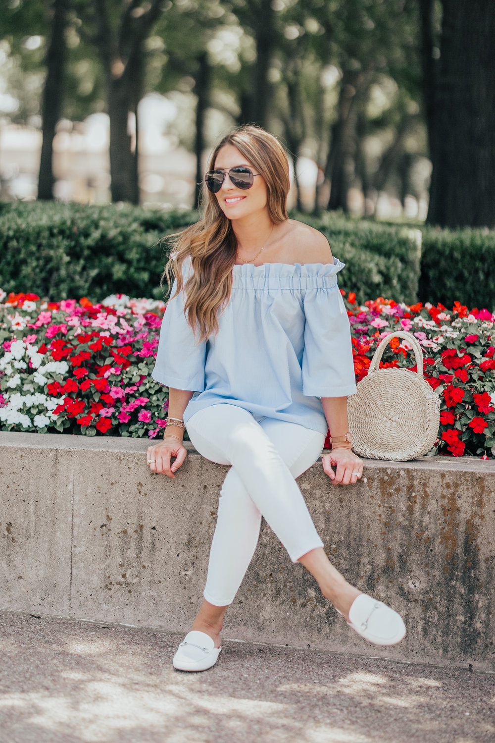 Off the Shoulder Top + White Denim