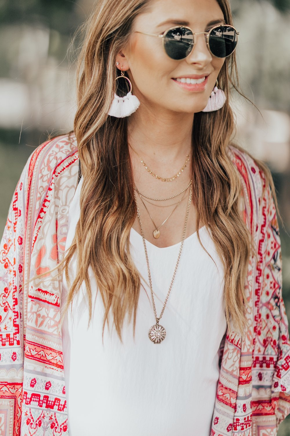 Summer Kimono + White Linen Dress