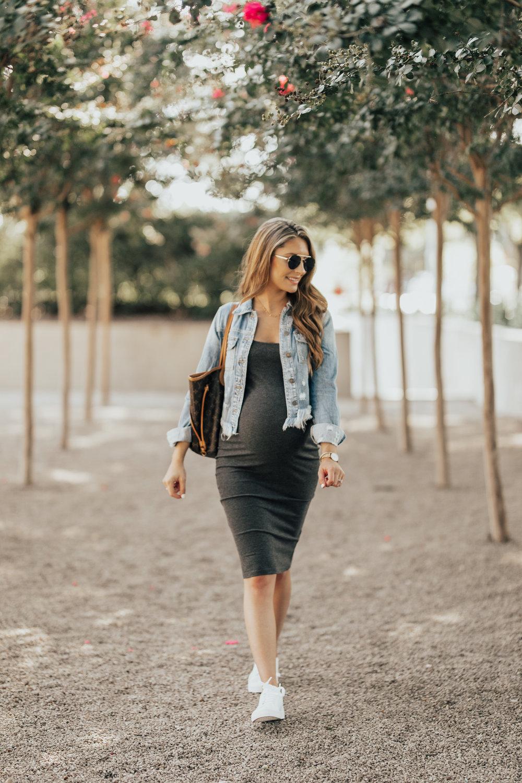 Denim Jacket + Jersey Dress - Maternity Style