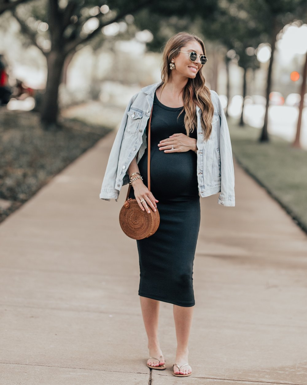 Black Tank Dress - Styled again with a denim jacket!