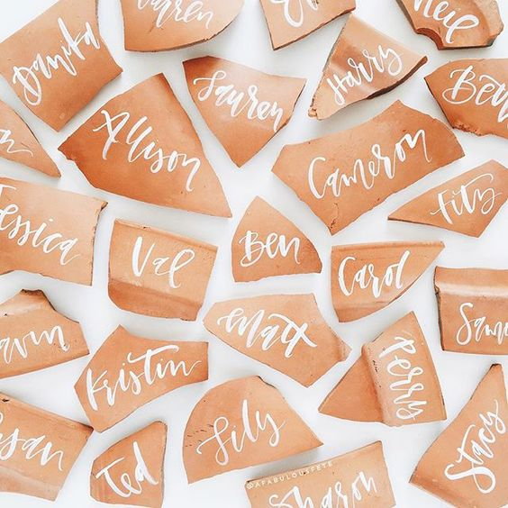 Terra Cotta Escort Cards by  A Fabulous Fete