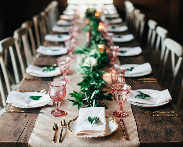 This beautiful tablescape as seen on  Southern Weddings | Photo by  Ben and Colleen