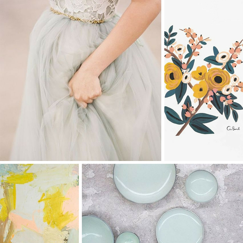 Elizabeth Dye  dress as seen on  Wedding Sparrow  | Marigold Botanical Print as seen on  Rifle Bond Co.  | Painting as seen on  Lovely Pieces  | Mint bowls as seen on  Planning Pod