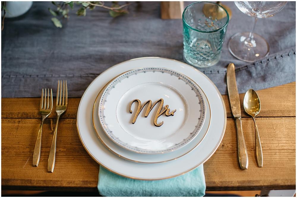 Bespoken Weddings | Laser cut place card | Gold, mint, gray