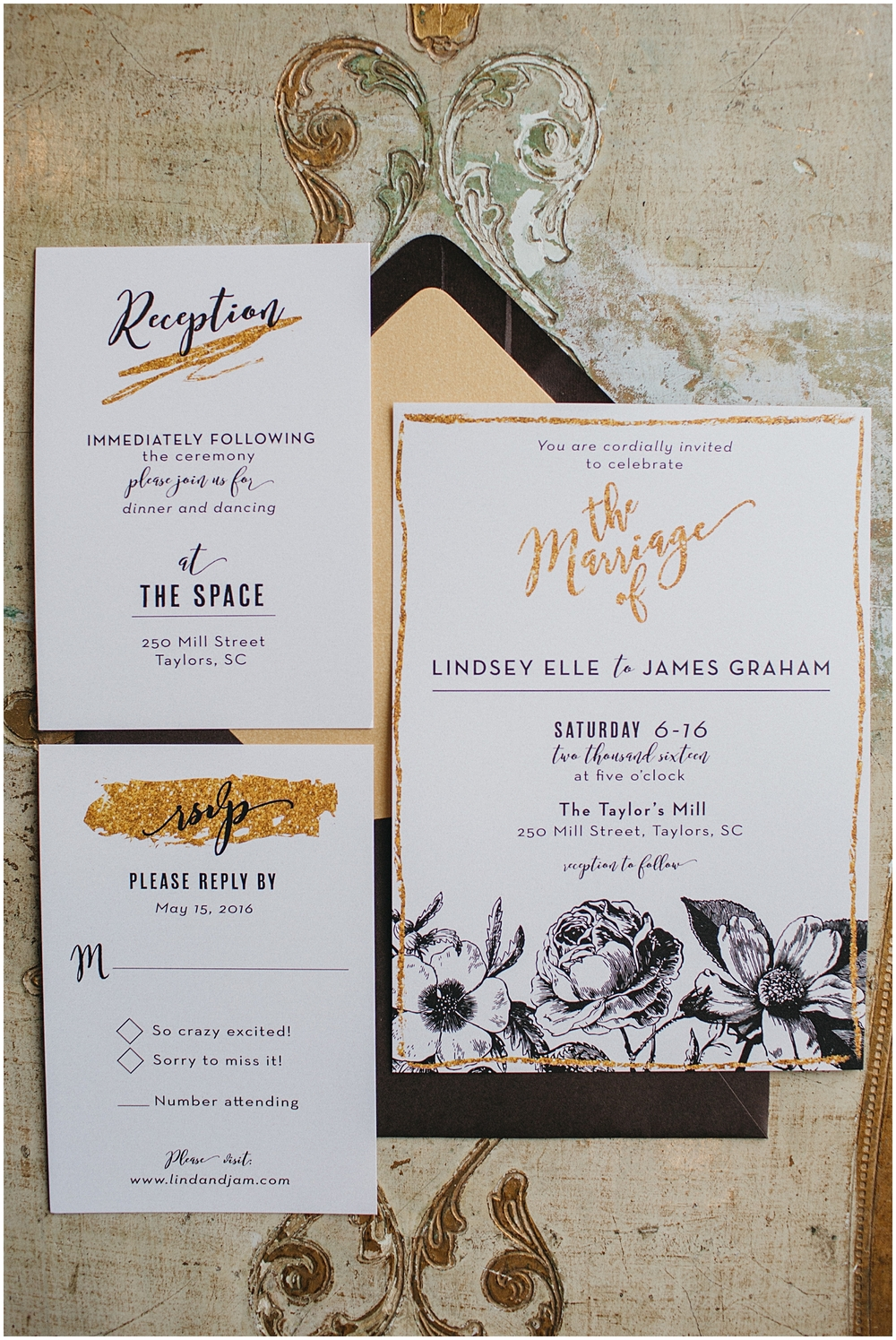 Bespoken Weddings | Invitations | Gold and black
