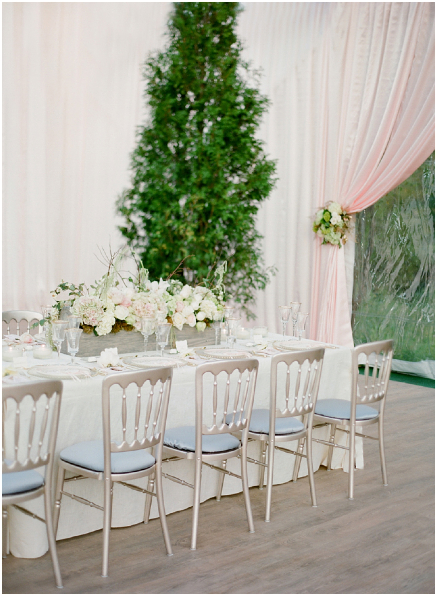 Gorgeous Neutrals + Blush Tented Wedding | Designed by  Kehoe Designs  | Photographed by  Jose Villa  | As seen on  Style Me Pretty