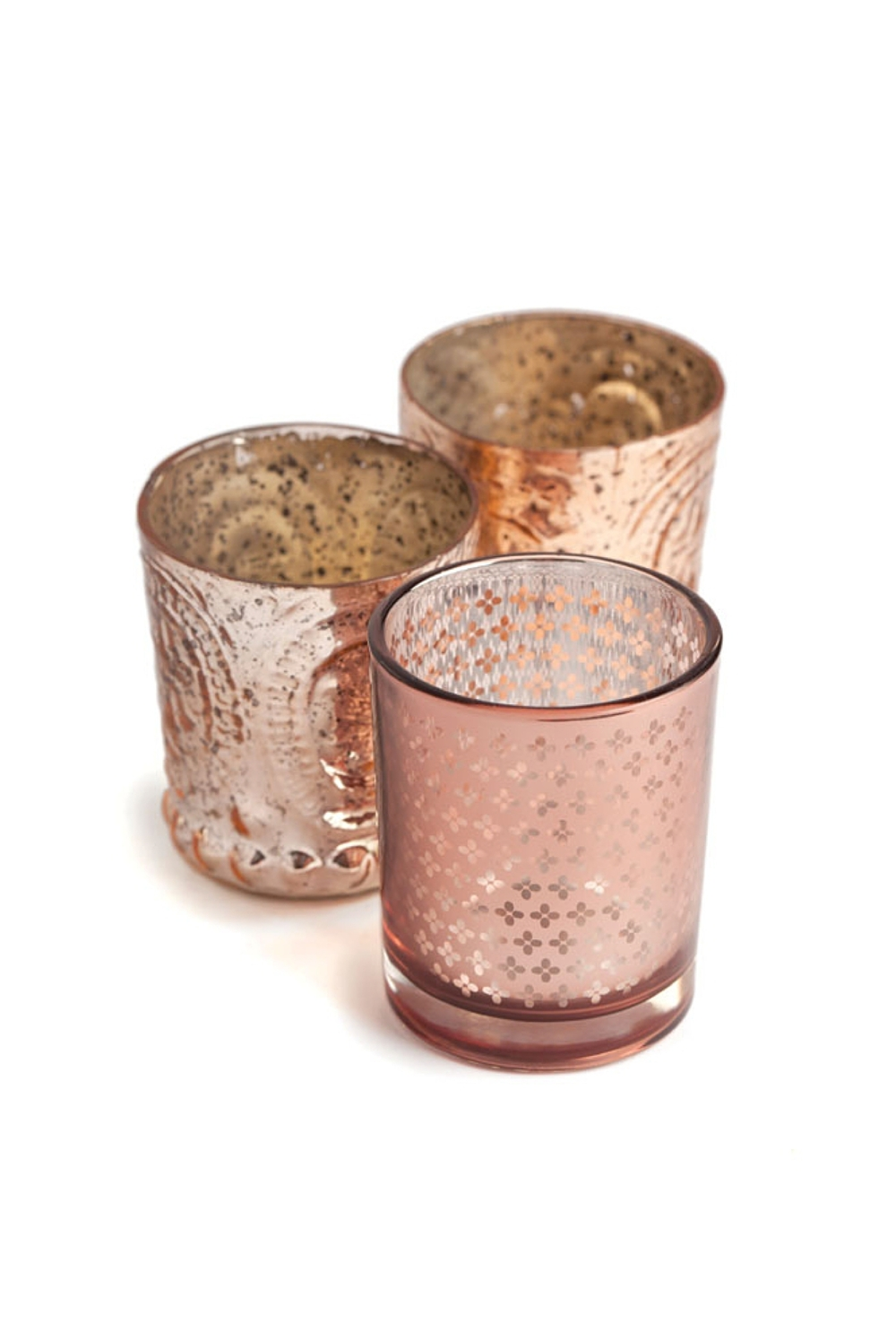 Rose Gold Glass Votives | As seen on  California Wedding Day