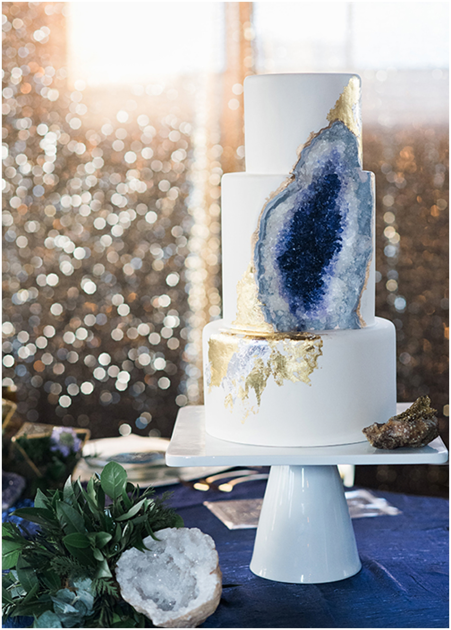 Unique and stunning wedding cake as seen on  Brides  | Photo by  Ali & Garrett Photography