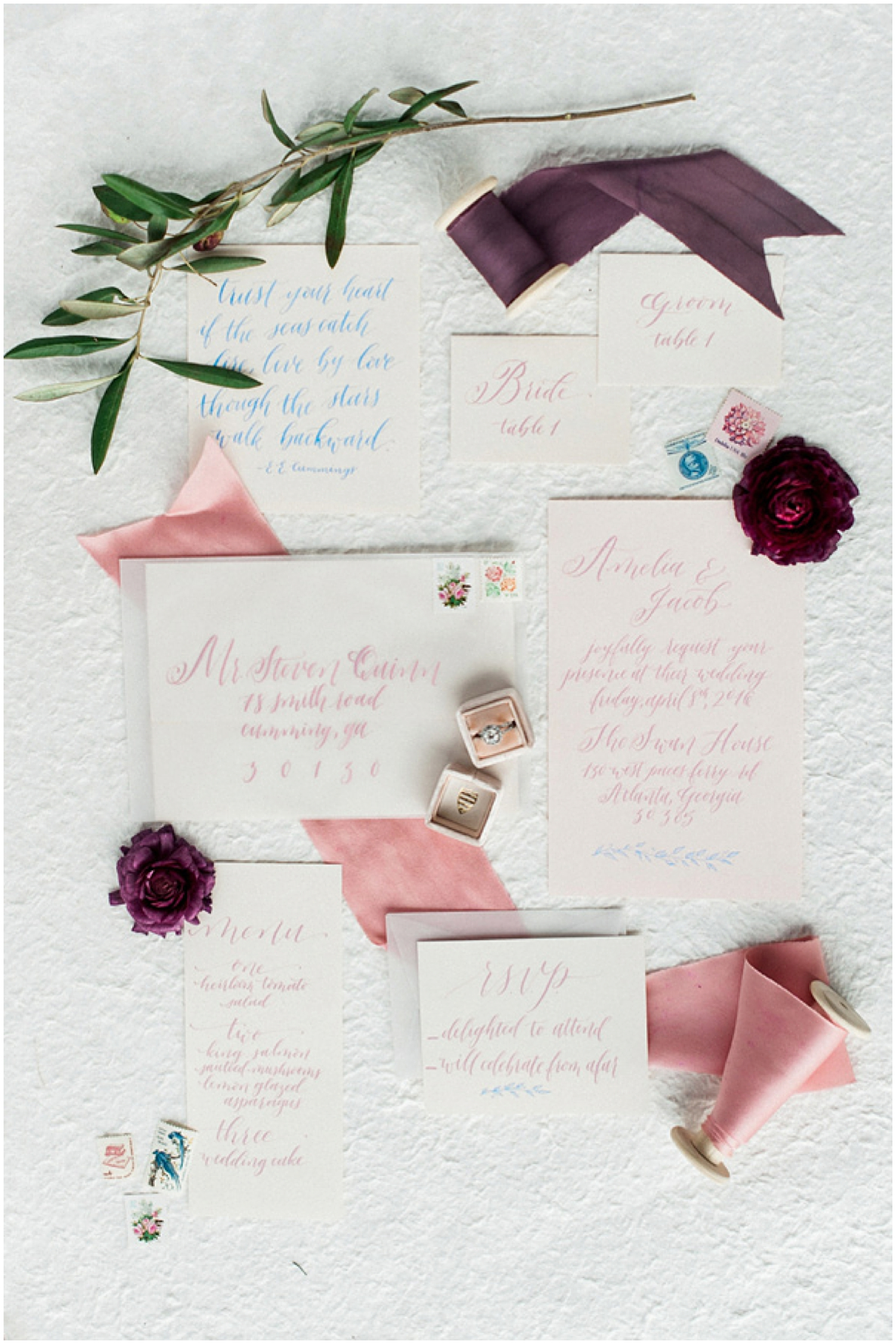 Beautiful invitation suite by  Rachel Anne as seen on  Ruffled  | Photo by  Unique 2 Chic Photography