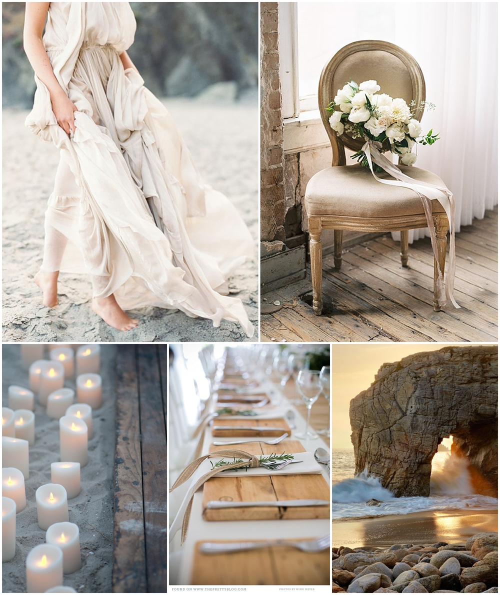 Whelve Wedding dress from Houghton NYC, photographed by Erich McVey as seen on Once Wed | Chair and Bouquet, designed by Maxit Flower Design, photographed by Morgan Gosch, as seen on Wedding Sparrow | Candles photographed by Jenni & Travis Photogrpahy, as seen on Style Me Pretty | Tablescape as seen on The Pretty Blog | Coastal image as seen on Pinterest