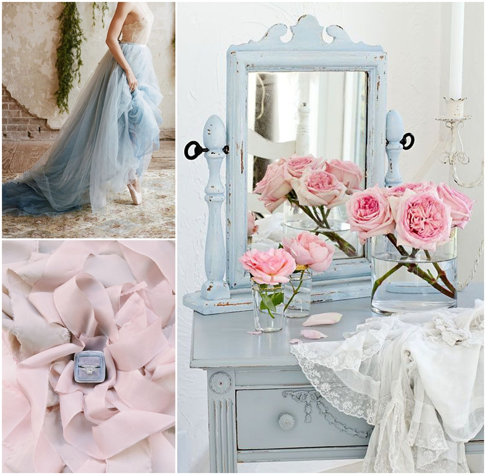 Blue dress via  Bridal Musings  | Ribbon and ring via  Style Me Pretty  | Vintage dresser via  AA Interior Design