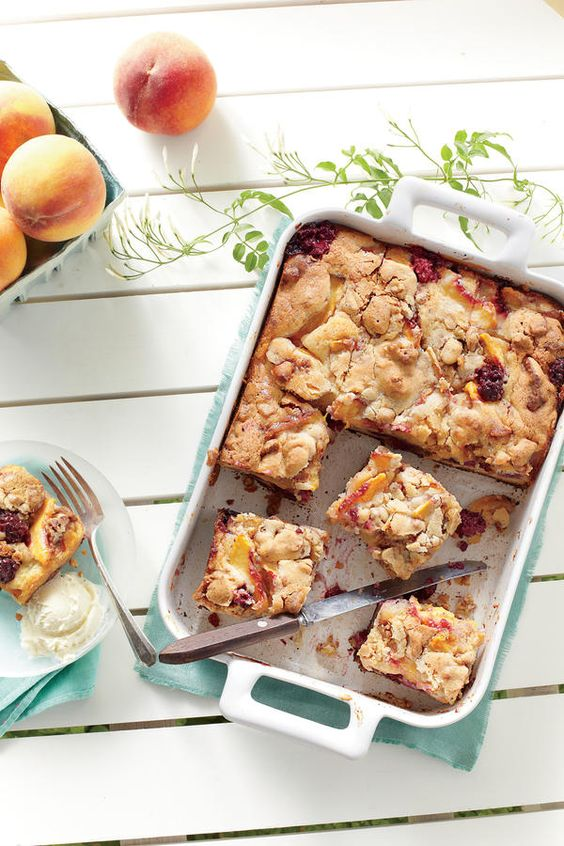 Blackberry Peach Cobbler Bars from Southern Living | Bespoken www.bespokenweddings.com