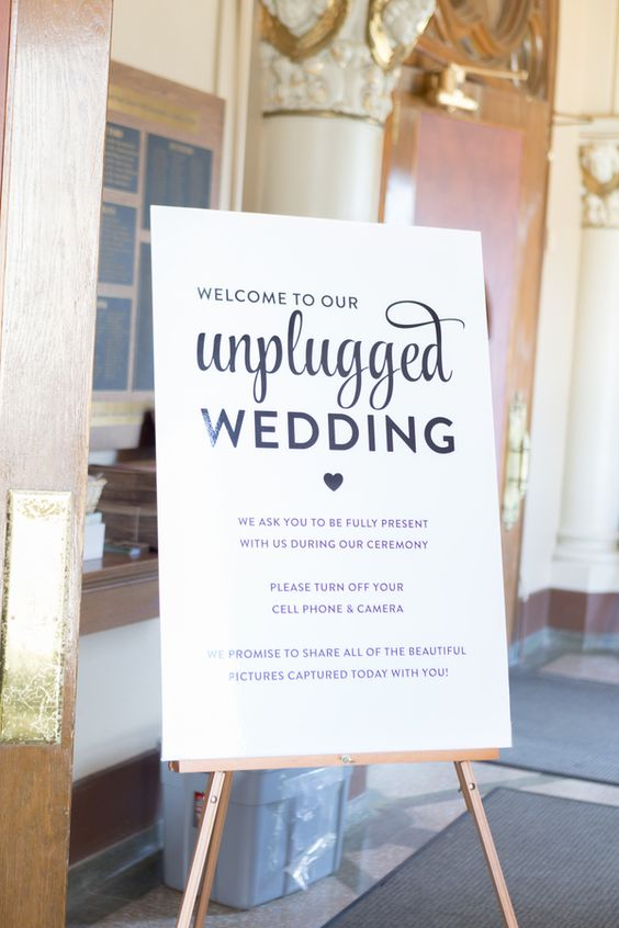 This sign for an unplugged wedding. Because as much as I love technology, photos, and social media...I fully believe in guests being fully present at a wedding. spotted on  Knotsvilla