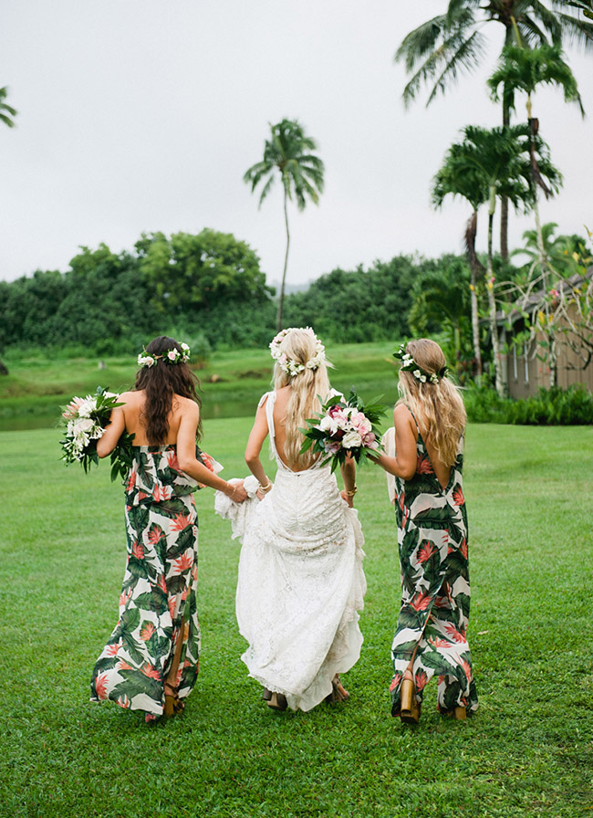 This boho bride who wasn't afraid to let her bridesmaids wear a printed dress, spotted on Green Wedding Shoes