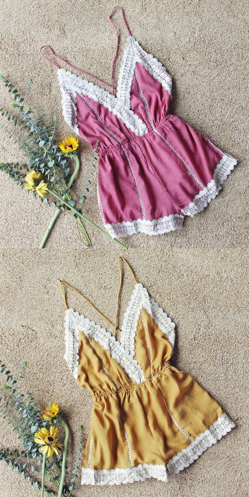 These boho rompers with lace details from Spool 72
