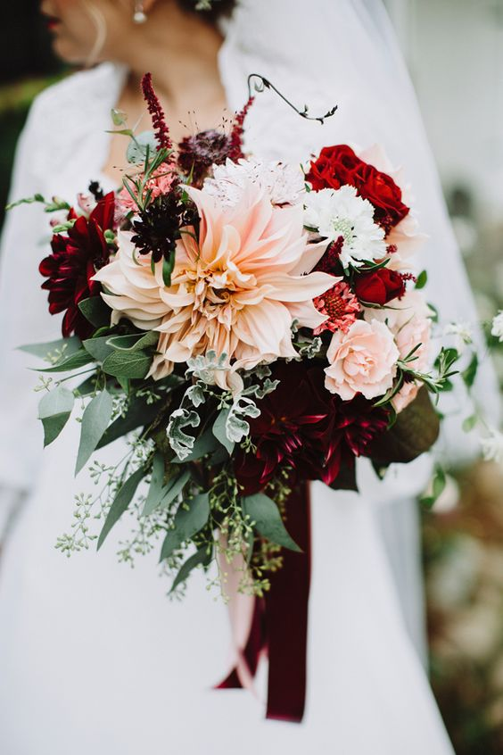 Crazy beautiful, rich reds bouquet by  Little Big Farm , photographed by  With Love & Embers , and spotted on  Ruffled