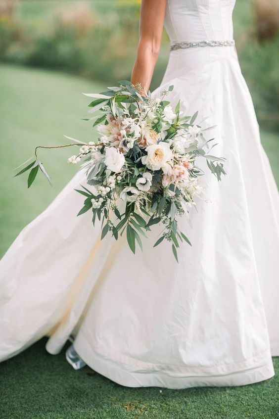 Organic white wedding bouquet by  Fox Events , photographed by  Tim Willoughby , and spotted on  Southern Weddings