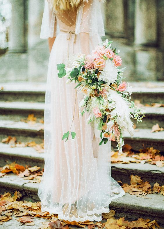 Airy wedding bouquet by Marina Zaslavskaya , photographed by Antonova Kseniya, and spotted on Burnett's Boards