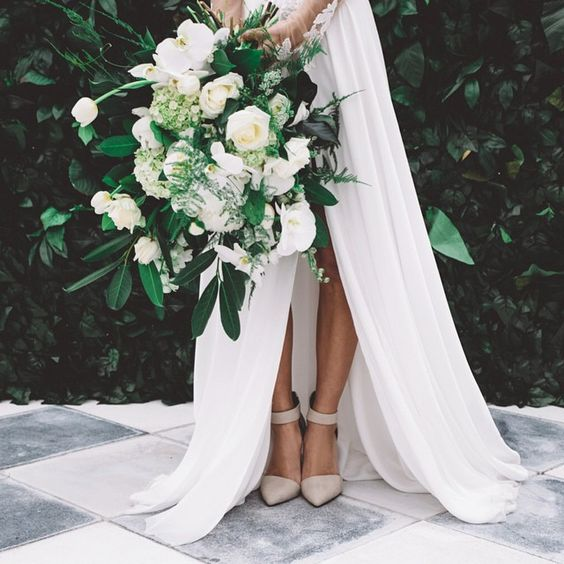 An all white bouquet by  She's a Wildflower , photographed by  Enchanted Wedding Photography , and spotted on  Party With Lenzo