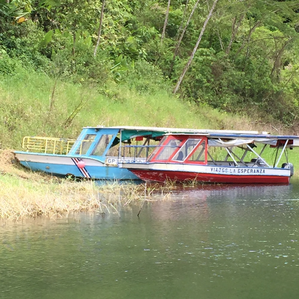colorful boats on Lake Arenal