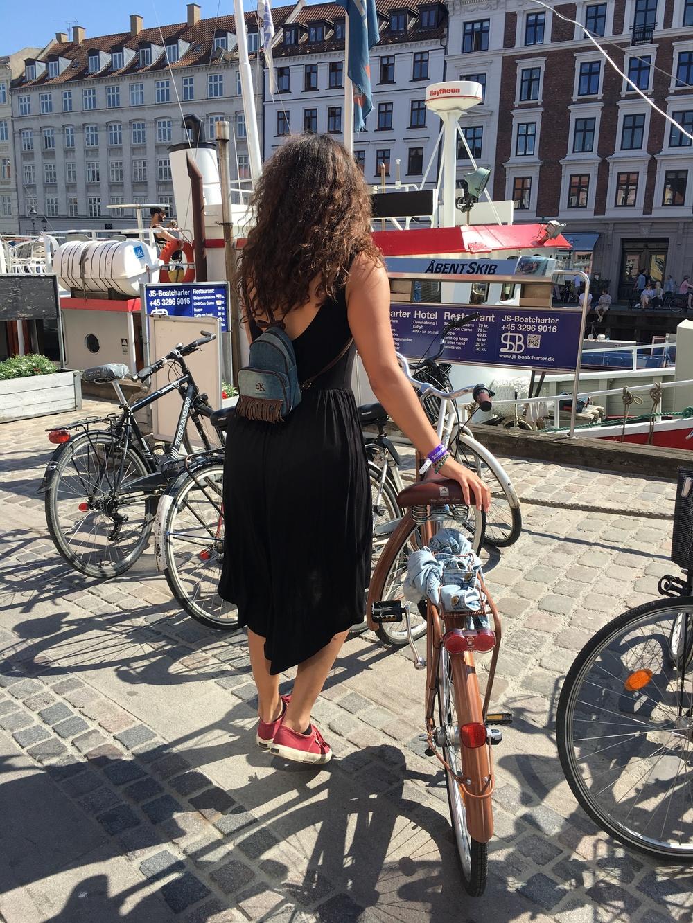 elegant on her bike