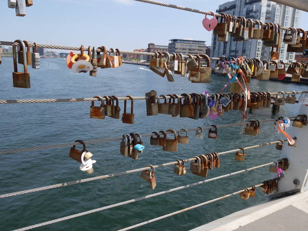 like pont de arts in Paris, the locks of love are catching on in Copenhagen.  you can find them on many bridges throughout the city.