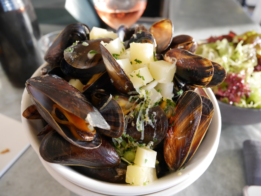 mussels and potato in a homemade apple cider vinegar broth