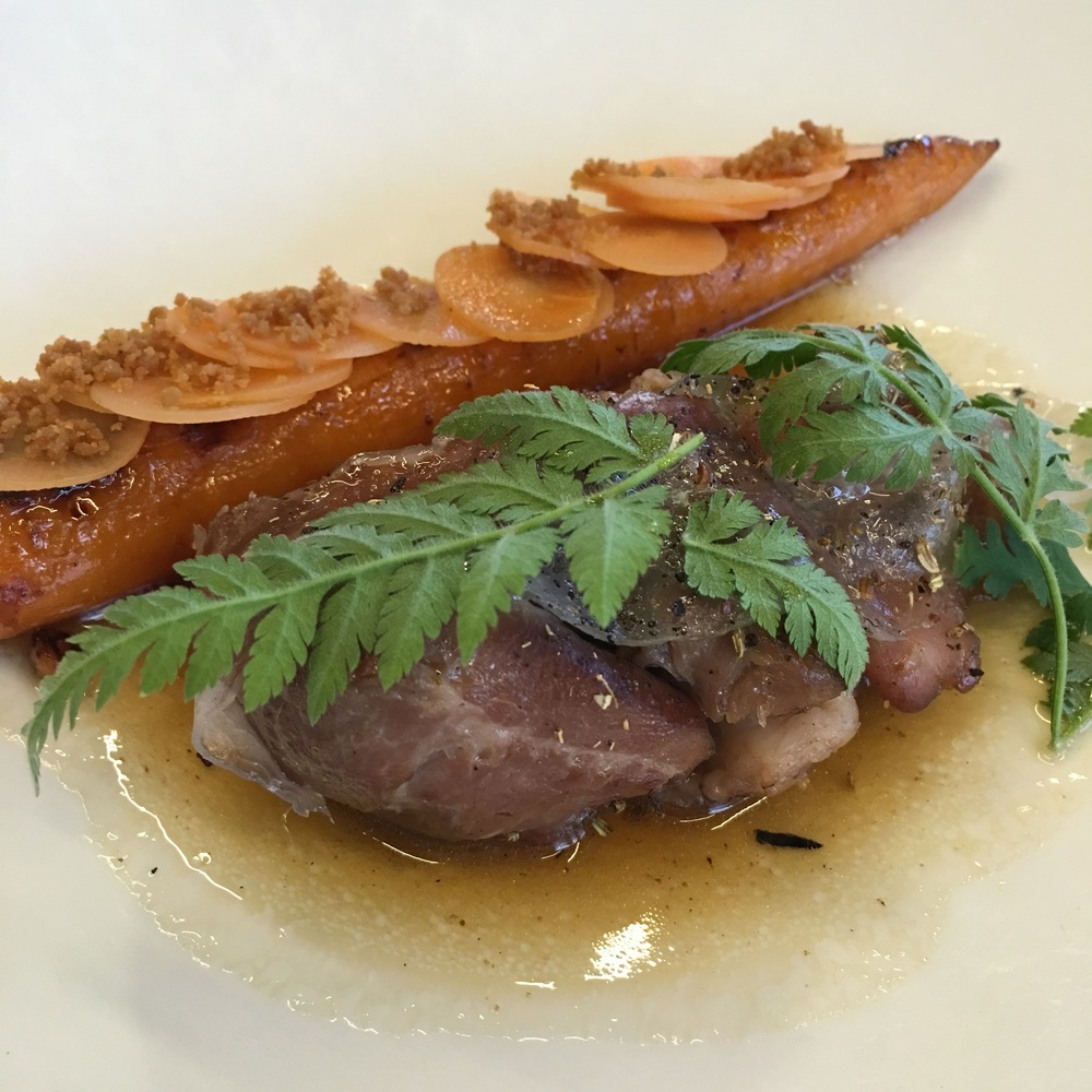 pork cheek and glazed carrot and Spanish chervil at Arakataka