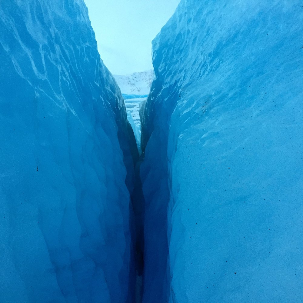 staring down a crevasse