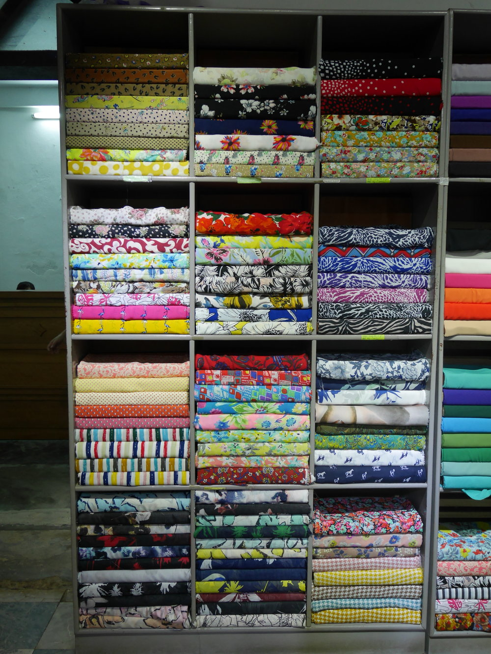 shelves and shelves of fabric to choose from