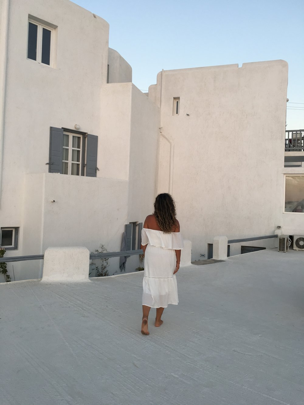 Getting ready at the hotel in Mykonos