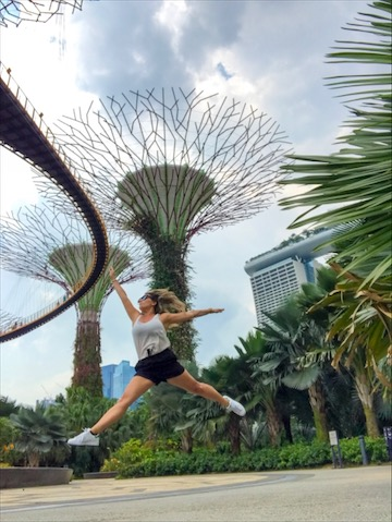 leaping in Gardens By The Bay, Singapore (phone on ground)